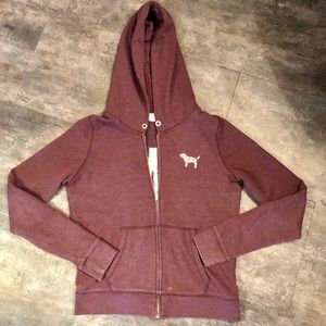 VS PINK Maroon Sequin Hooded Zip Up *Flaw